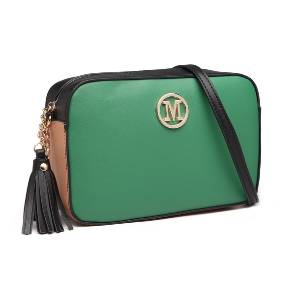 LT1862-MISS LULU LEATHER TASSEL ORNAMENT CHAIN SHOULDER BAG GREEN