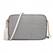 LT1862S-MISS LULU LEATHER TASSEL ORNAMENT CHAIN SHOULDER BAG WHITE/BLACK