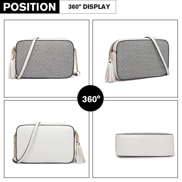 LT1862S-MISS LULU LEATHER TASSEL ORNAMENT CHAIN SHOULDER BAG WHITE/BLACK