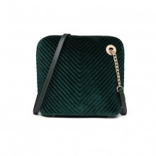 LT1863-MISS LULU PU LEATHER TWILL SMALL CROSS BODY BAG GREEN