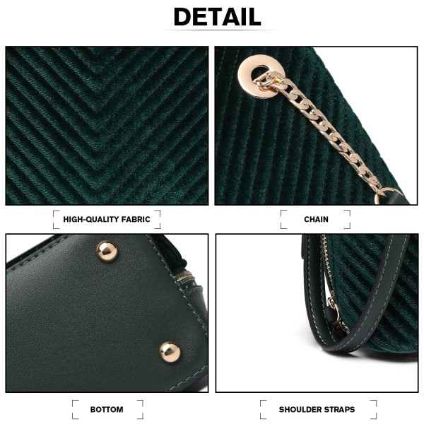 LT1863-MISS LULU PU LEATHER TWILL SMALL CROSS BODY BAG GREEN