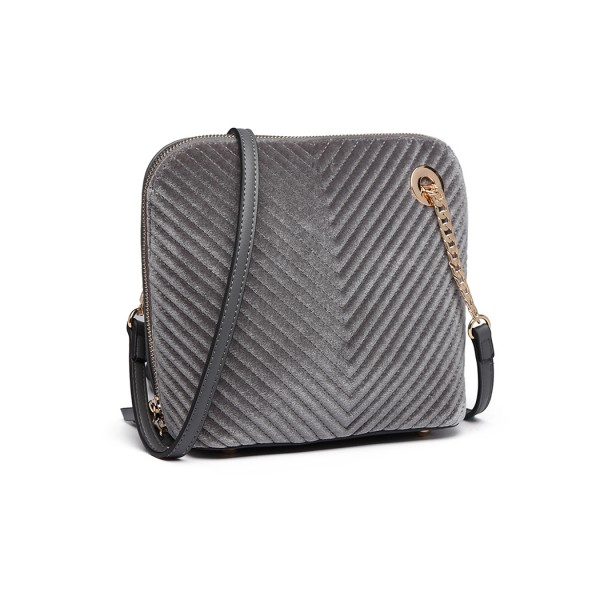 LT1863-MISS LULU PU LEATHER TWILL SMALL CROSS BODY BAG GREY