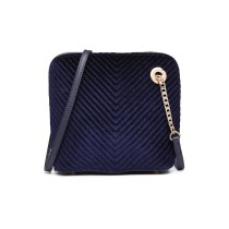 LT1863-MISS LULU PU LEATHER TWILL SMALL CROSS BODY BAG NAVY