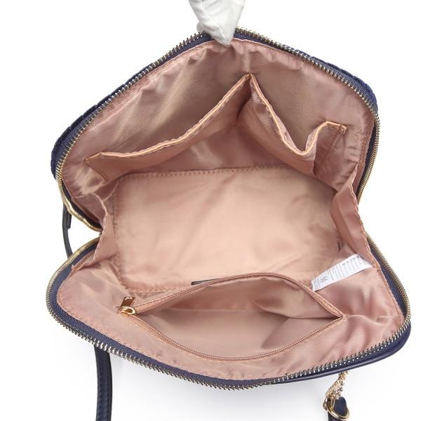 LT1863-MISS LULU PU LEATHER TWILL SMALL CROSS BODY BAG NAVY