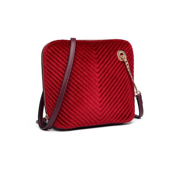 LT1863-MISS LULU PU LEATHER TWILL SMALL CROSS BODY BAG PURPLE