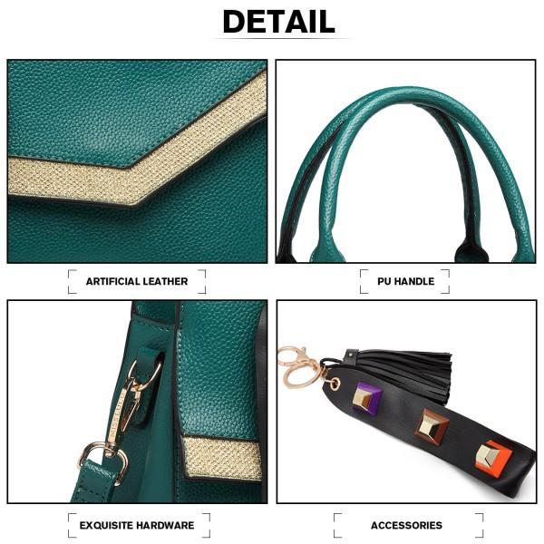 LT1864 - Miss Lulu Burlap Panel Pendant Shoulder Bag - Green