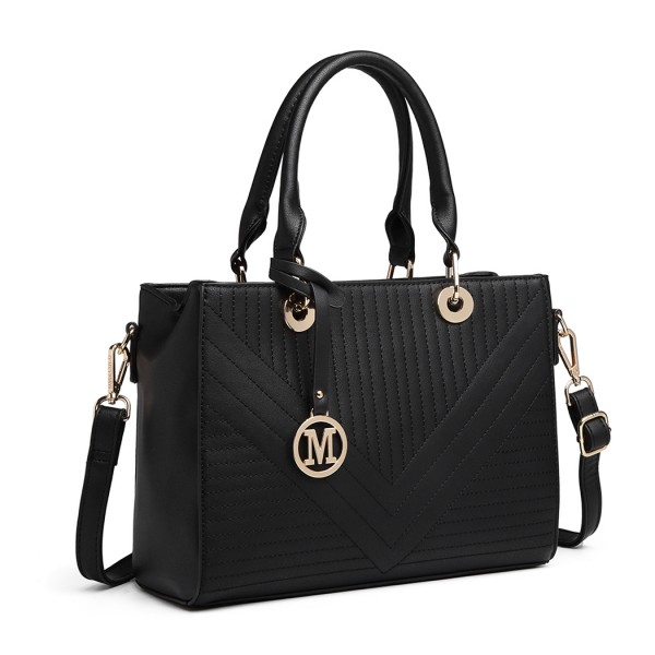 LT1865 - Miss Lulu Quilted Stitched Detail Handbag - Black