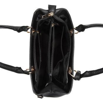 LT1865-MISS LULU PU LEATHER QUILTED DESIGN HANDBAG SHOULDER BAG BLACK