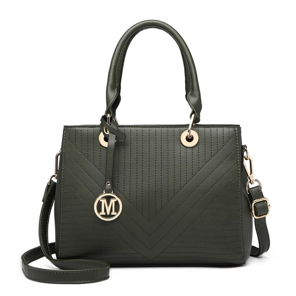 LT1865 - Miss Lulu Quilted Stitched Detail Handbag - Green