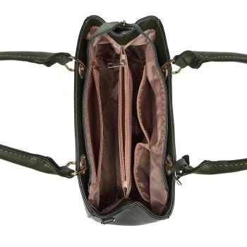 LT1865-MISS LULU PU LEATHER QUILTED DESIGN HANDBAG SHOULDER BAG GREEN
