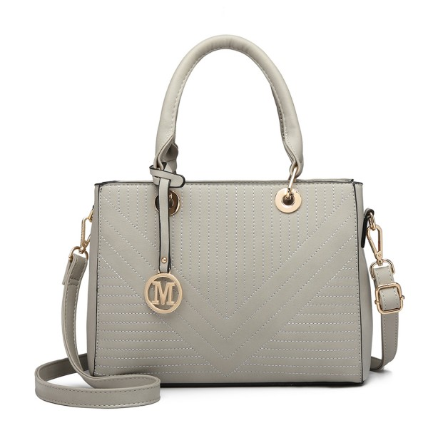 LT1865 - Miss Lulu Quilted Stitched Detail Handbag - Grey