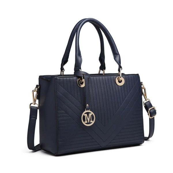 LT1865 - Miss Lulu Quilted Stitched Detail Handbag - Navy