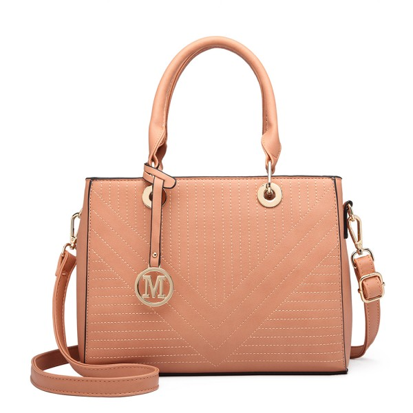 LT1865 - Miss Lulu Quilted Stitched Detail Handbag - Pink