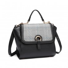 LT1906 - Miss Lulu Plaid Croc Skin Handbag - Black