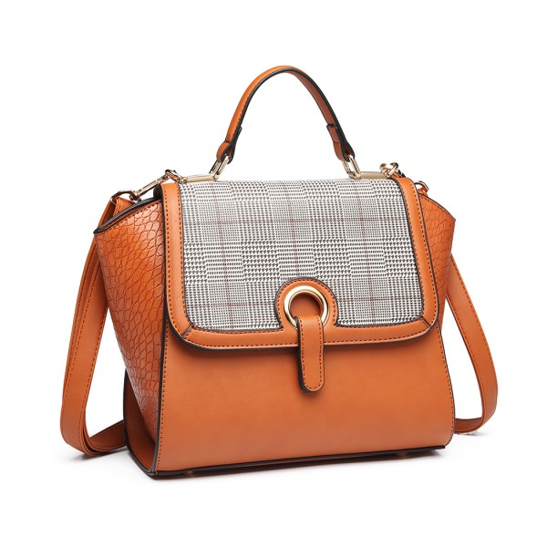 LT1906 - Miss Lulu Plaid Croc Skin Handbag - Brown