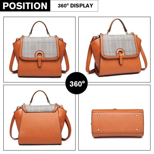 LT1906 - Miss Lulu Plaid Croc Skin Handbag - Brown