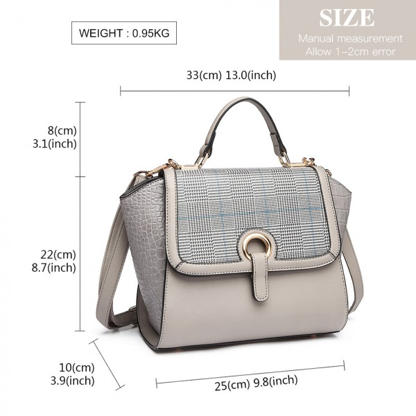 LT1906 - Miss Lulu Plaid Croc Skin Handbag - Grey