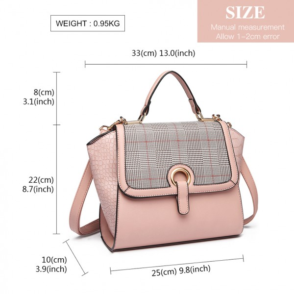 LT1906 - Miss Lulu Plaid Croc Skin Handbag - Pink