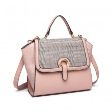 LT1906-Sac à main Miss Lulu Plaid Croc Skin Rose