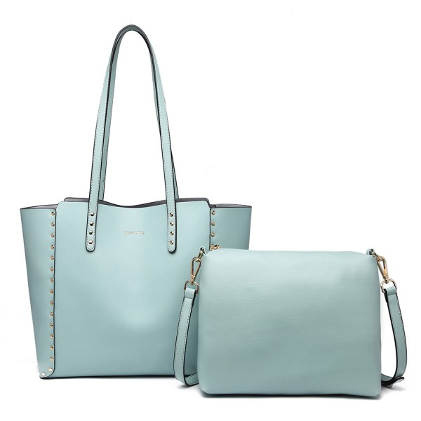 LT1940 - MISS LULU 2-IN-1 REVERSIBLE TOTE AND SHOULDER BAG - BLUE