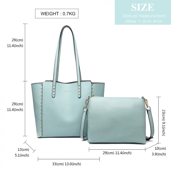 LT1940-MISS LULU 2-IN-1 REVERSIBLE TOTE AND SHOULDER BAG BLUE