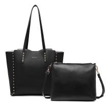 LT1940 - MISS LU 2-IN-1 REVERLIVE TOTE I SHULDER BAG - BLACK