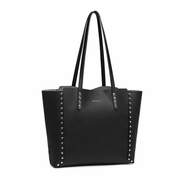 LT1940-MISS LULU 2-IN-1 REVERSIBLE TOTE AND SHOULDER BAG BLACK