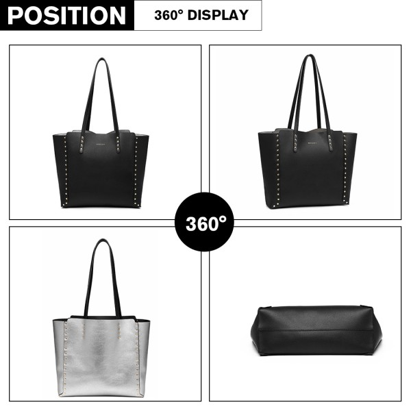 LT1940 - MISS LULU 2-IN-1 REVERSIBLE TOTE AND SHOULDER BAG - BLACK