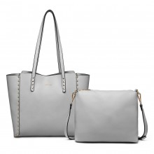 LT1940 - MISS LULU 2-IN-1 REVERSIBLE TOTE AND SHOULDER BAG - GREY