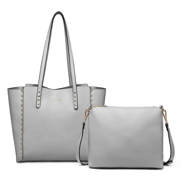 LT1940-MISS LULU 2-IN-1 REVERSIBLE TOTE AND SHOULDER BAG GREY