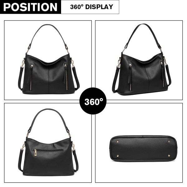 LT1941-MISS LULU CLASSIC STYLE SLOUCH SHOULDER BAG BLACK