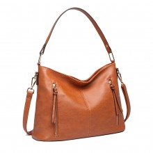 LT1941-MISS LULU CLASSIC STYLE SLOUCH SCHULTERTASCHE BRAUN