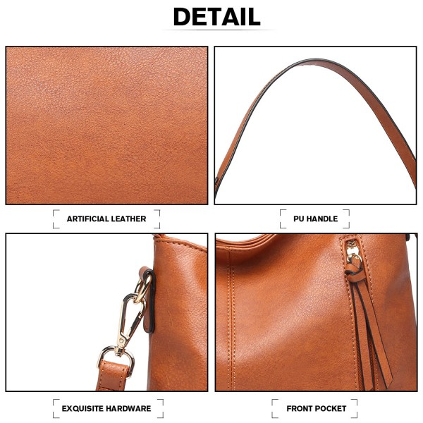 LT1941-MISS LULU CLASSIC STYLE SLOUCH SHOULDER BAG BROWN