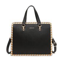 LT1953 - Bolso de hombro con diseño de rayas Miss Lulu - Negro