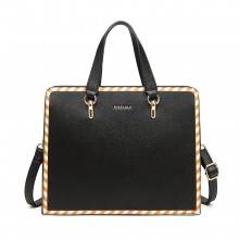 LT1953 - Miss Lulu Stripe Design Shoulder Bag - Black