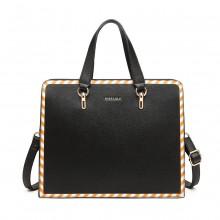 LT1953 - Miss Lulu Stripe Design Shoulder Bag - Black