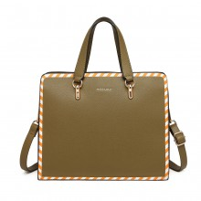 LT1953 - Miss Lulu Stripe Design Shoulder Bag - Green
