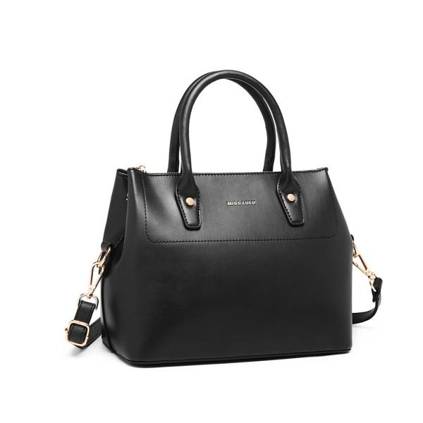 LT1959 - Miss Lulu Silk Scarf Shoulder Bag - Black