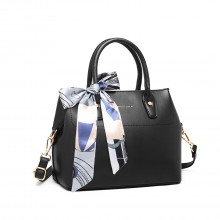 LT1959 - Miss Lulu Silk Scarf Shoulder Bag - Black