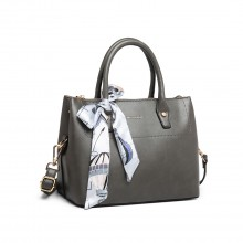 LT1959 - Miss Lulu Silk Scarf Shoulder Bag - Grey