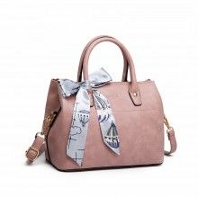 LT1959 - Miss Lulu Silk Scarf Shoulder Bag - Pink