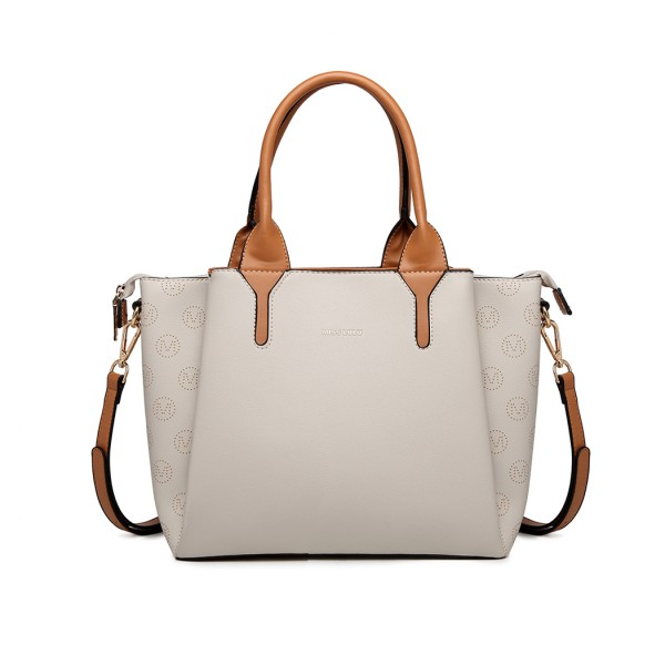 LT2011 - Miss Lulu Leather Look Multi Compartment Tote Shoulder Bag - Beige