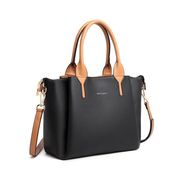 LT2011 - Miss Lulu Leather Look Multi Compartment Tote Shoulder Bag - Black