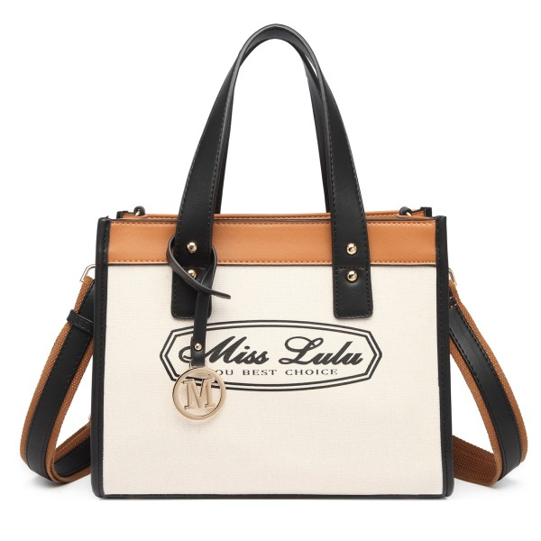 LT2027 - Miss Lulu Leather Look Logo Handbag - Beige