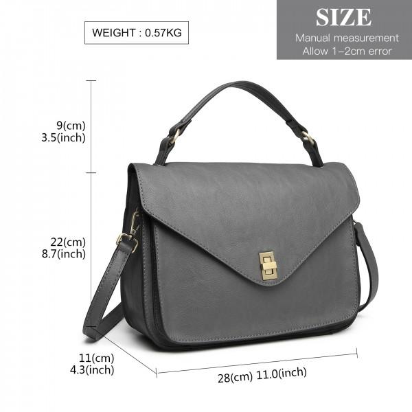 LT2052 - Miss Lulu Functional Satchel Handbag - Grey