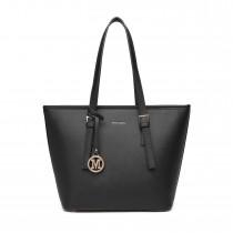 LT2054 - Miss Lulu Minimalistyczna torebka z grubej bawełny o strukturze - Czarny