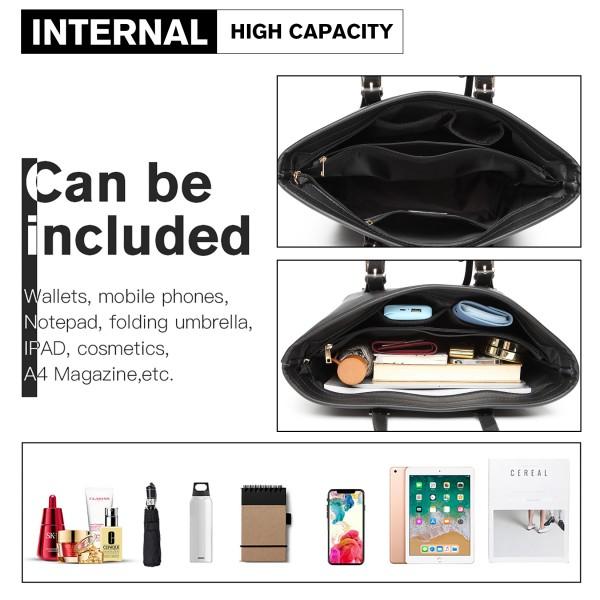 LT2054 - Miss Lulu Minimalist Tote Handbag Structured - Black