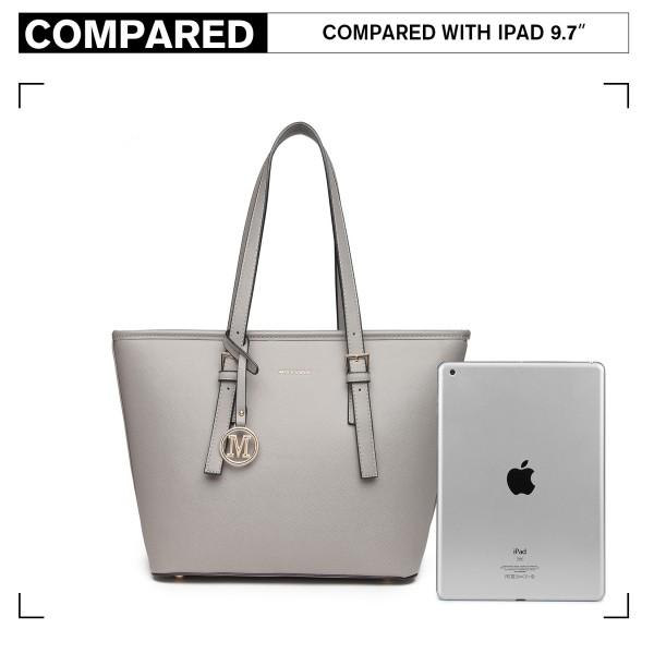 LT2054 - Miss Lulu Minimalist Tote Handbag Structured - Grey