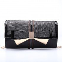 LT6604-MISS LULU Women Faux Leather Bow Clutch Chain Shoulder Bag Black