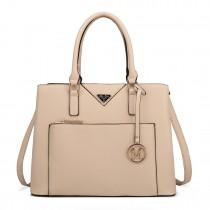 LT6611 - Miss Lulu Shopper Tote Bag With Pocket in Faux Leather Beige